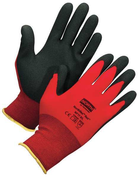 Honeywell PVC Coated Gloves,  Palm Coverage,  Red,  XS,  PR NF11/6XS