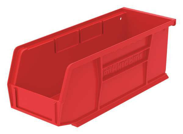 """Akro-Mils Red Hang and Stack Bin,  7-3/8""""L x 4-1/8""""W x 3""""H,  Outside Width: 4 1/8 in 30220RED"""