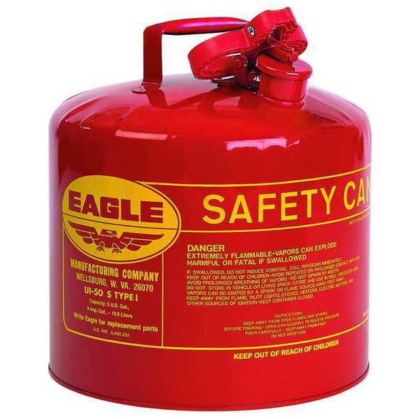 Eagle 5 gal. Red Galvanized steel Type I Safety Can for Flammables UI50S