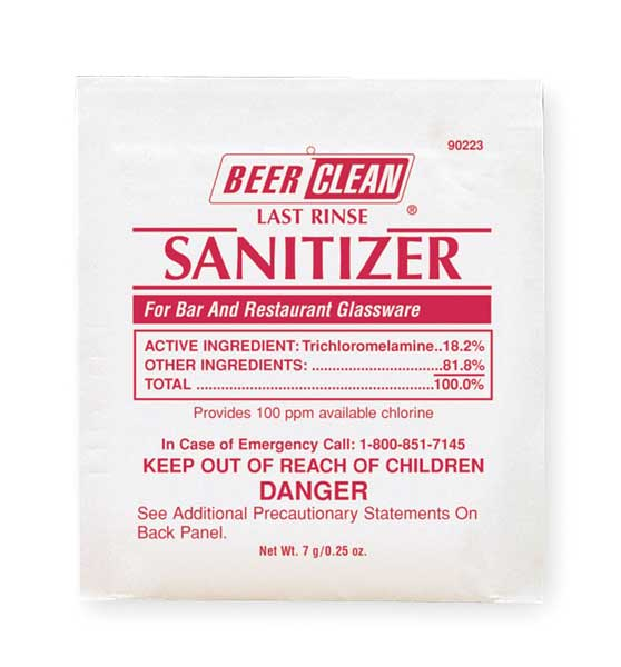 Beer Clean Beer Clean Sanitizer,  0.25 oz. Pouch,  Unscented,  White 90223