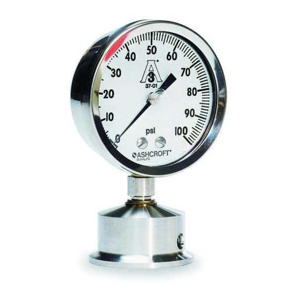 Ashcroft Pressure Gauge, 0 to 30 psi, 2-1/2In, 1-1/2 25-1032S-15L-30