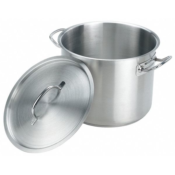 Crestware Stock Pot w/Cover, 16 qt, 12-3/4 In., SS SSPOT16