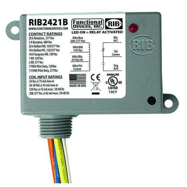 Functional Devices Inc / Rib Enclosed Pre-Wired Relay,  20A@277VAC,  SPDT,  HP @ 240V: 2 RIB2421B