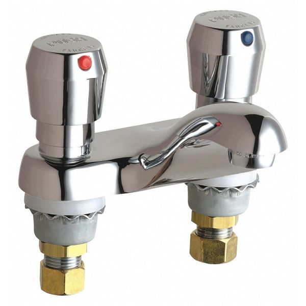 """Chicago Faucets Metering 4"""" Mount,  Hot And Cold Water Metering Sink Faucet 802-665ABCP"""