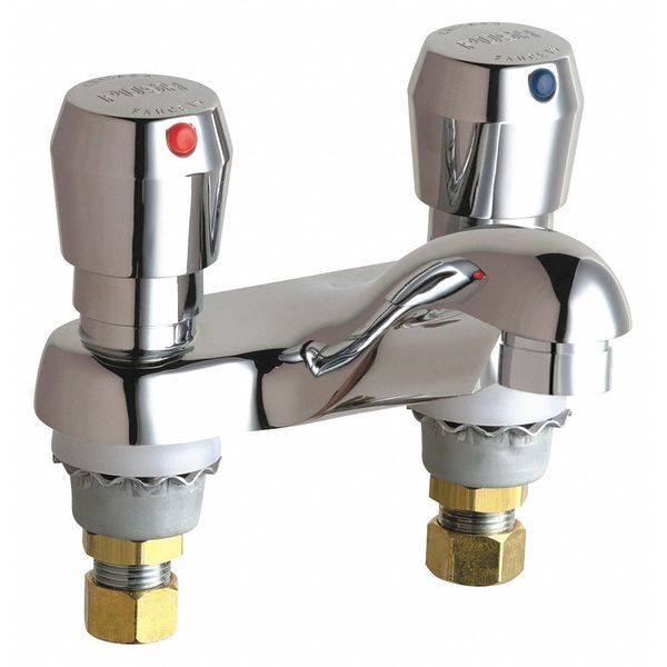 "Chicago Faucets Metering 4"" Mount,  2 Hole Hot And Cold Water Metering Sink Faucet 802-VE2805-665ABCP"