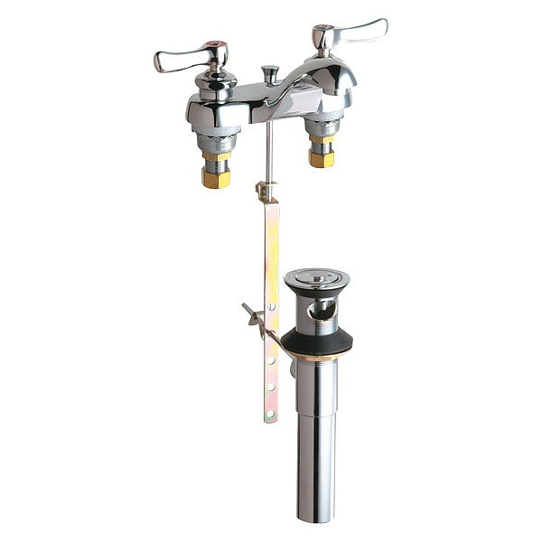 """Chicago Faucets Manual 4"""" Mount,  Hot And Cold Water Sink Faucet,  Chrome plated 797-ABCP"""