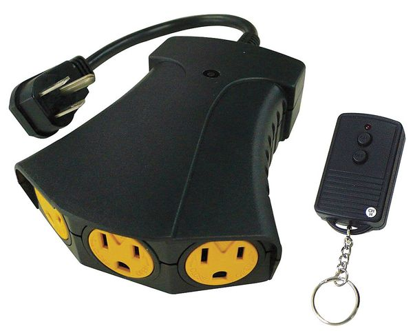 Power First Outdoor Remote Control, 3 Outlet, 125V 21RJ21