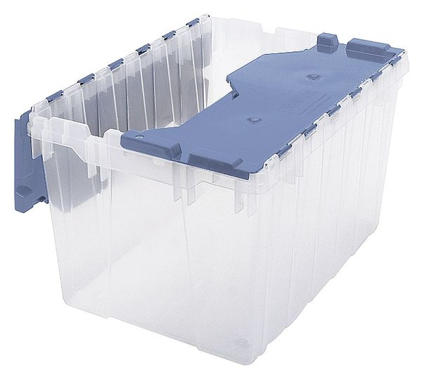 Akro-Mils Attached Lid Container, Clear/Blue 66486FILEB