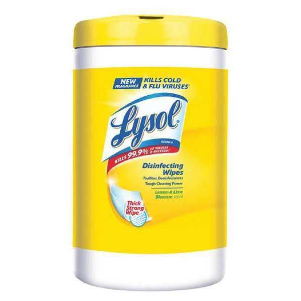 """Lysol Disinfecting Wipes,  White,  Canister,  110 Wipes,  7"""" x 8"""" RAC78849"""