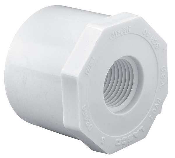 "Lasco 3"" Spigot x 1"" FNPT PVC Reducing Bushing Sched 40 438335"