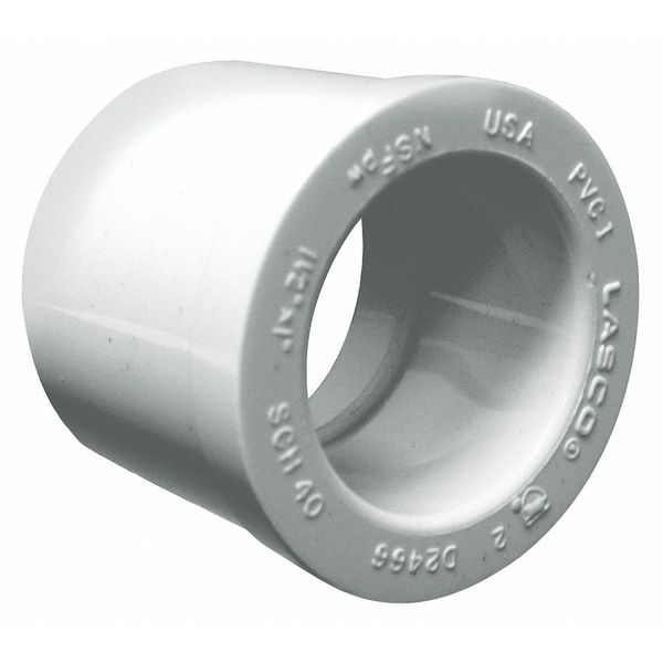 "Lasco 2"" Spigot x 1-1/2"" Socket PVC Reducing Bushing,  Color: White 437251BC"