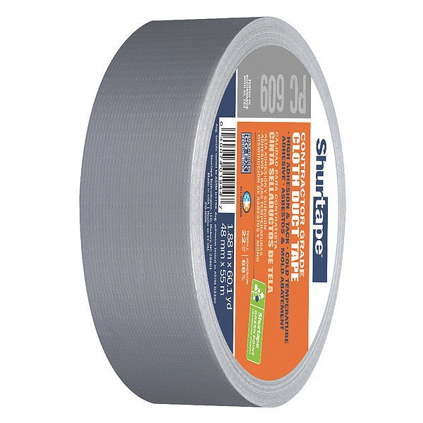 Shurtape Duct Tape, Silver, 48mm x 55m, 10 mil PC 609