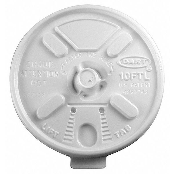 Dart Lid for 6 to 14 oz. Hot Cup,  Flat,  Lock Back Tear Tab,  White,  Pk1000 12FTL