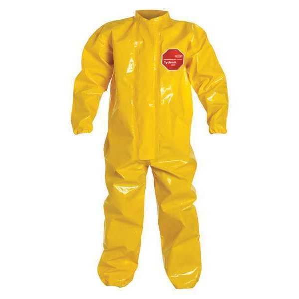 Dupont Collared Coverall, Elastic, Yellow, L, PK2 BR125TYLLG000200