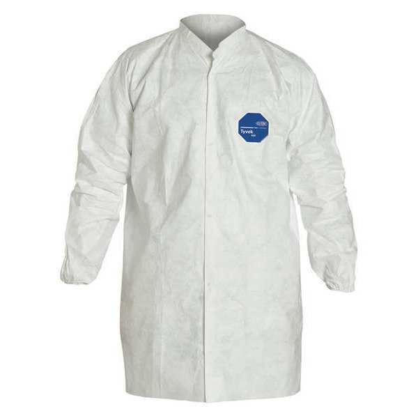 Dupont Disposable Frock ,  S ,  White ,  Tyvek(R) 400 ,  snaps TY216SWHSM003000