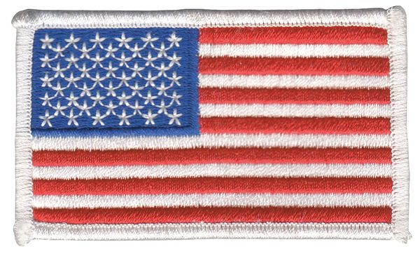 Heros Pride U.S. Flag,  Embroidered Patch,  White 0005HP