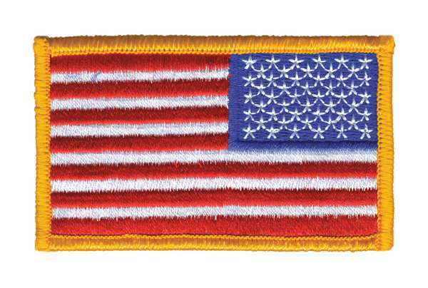Heros Pride Embroidered Patch, U.S. Flag, Dark Gold 0038