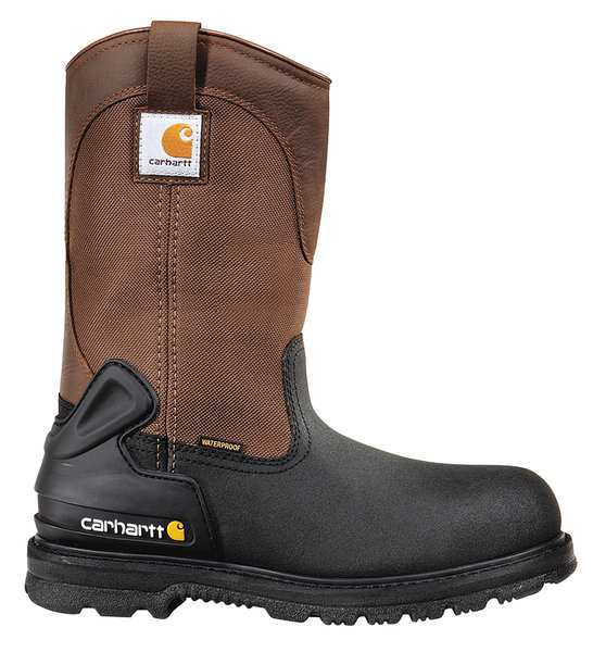 Carhartt Size 12 Men's Wellington Boot Steel Work Boot,  Black/Brown CMP1259 12 M