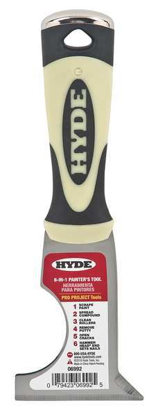 """Hyde Painters Tool,  Stiff,  2-1/2"""",  Carbon Steel,  No. of Edges: 1 06992"""