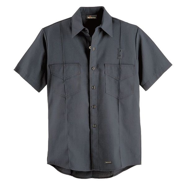 Workrite FR Short Sleeve Shirt, Navy, 66 in., Snaps FSF8NV 66 00