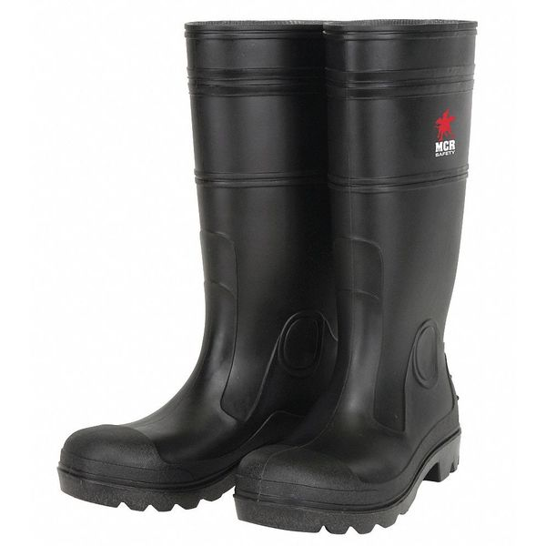 Mcr Safety Size 12 Unisex Steel PVC Steel Toed Boots,  Black PBS12013