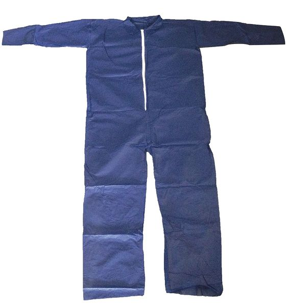 Condor Collared Disposable Coveralls ,  2XL ,  Blue ,  polypropylene ,  zipper 26W810