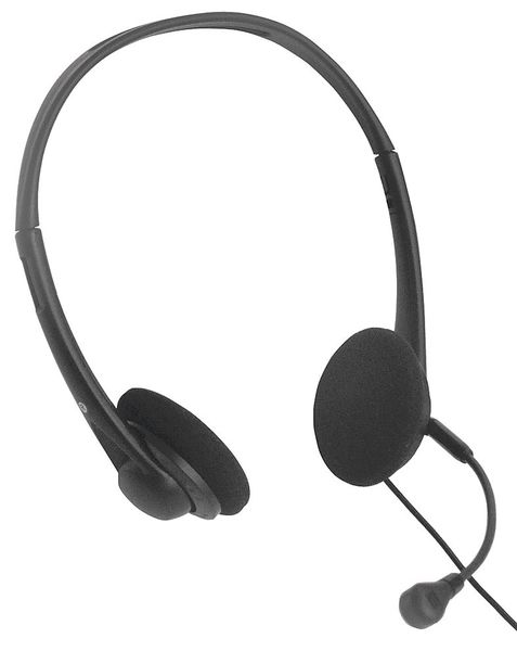 Clearsounds Corded Headset, Binaural, Black, Plastic HD500