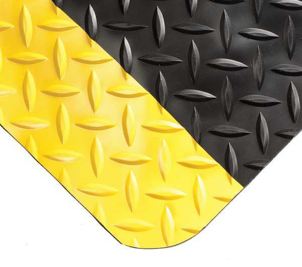 "Wearwell Black with Yellow Border Antifatigue Runner 2 ft. W x 56 ft. L,  9/16"" 415"