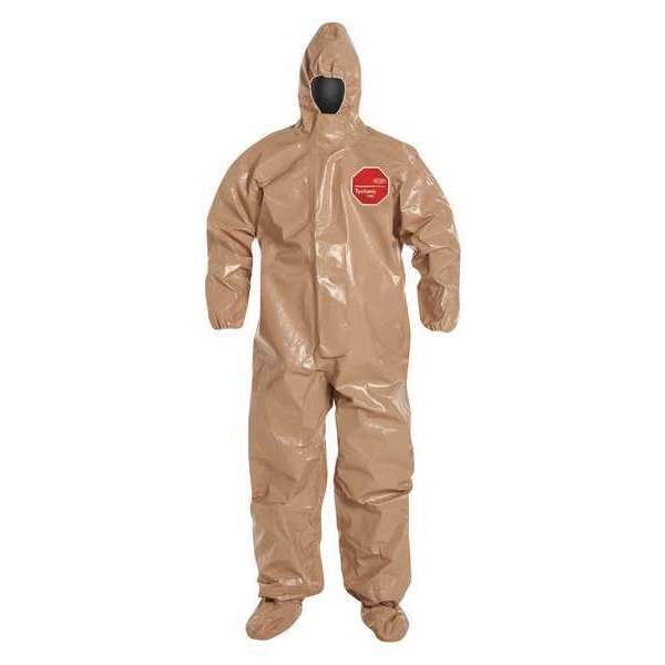 Dupont Hooded Coverall, Socks/Boot Flaps, 4XL, PK6 C3128TTN4X0006BN
