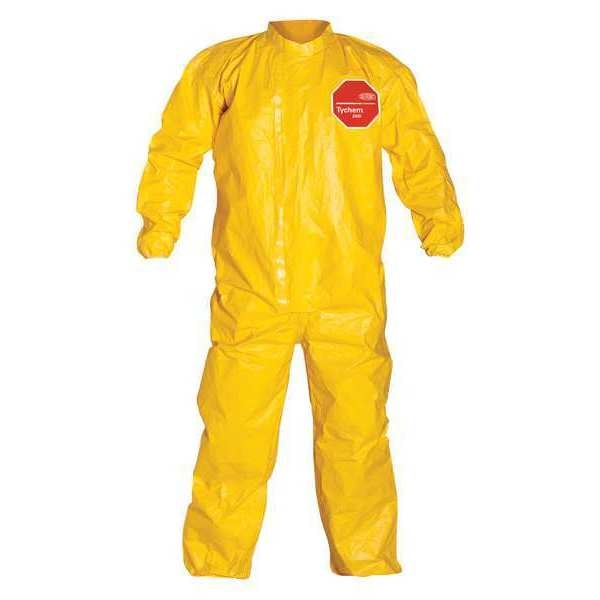 Dupont Collared Coverall, Elastic, Yellow, M, PK4 QC125TYLMD000400