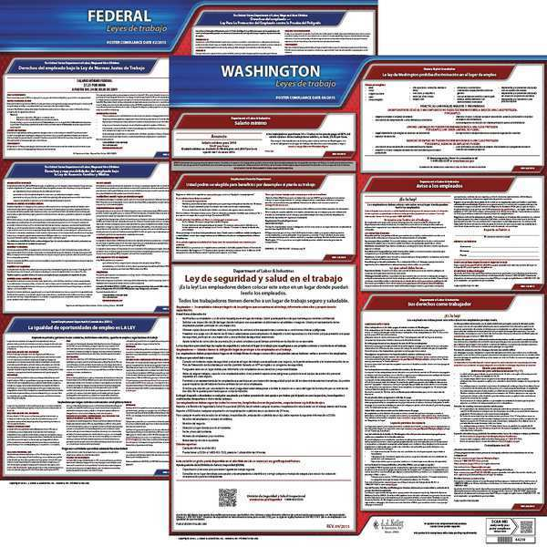 Jj Keller Labor Law Poster, Fed/STA, WA, SP, 20inH, 1yr 200-WA-1