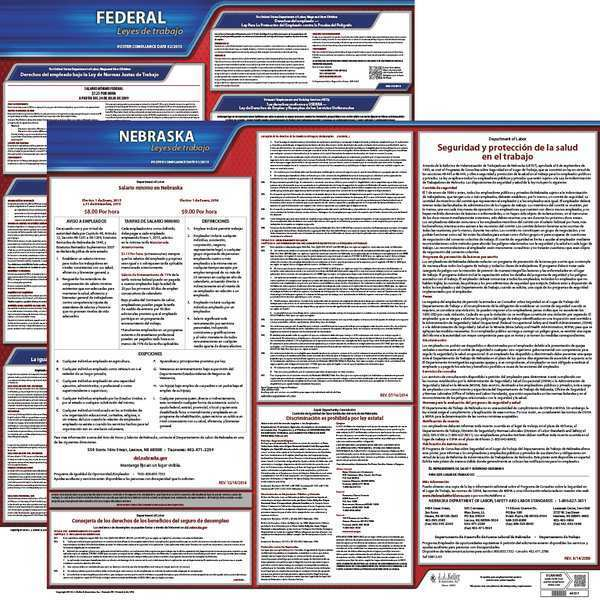 Jj Keller Labor Law Poster, Fed/STA, NE, SP, 20inH, 3yr 200-NE-3