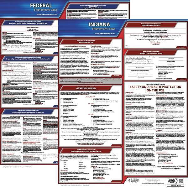 Jj Keller LaborLaw Poster, Fed/STA, IN, ENG, 20inH, 5yr 100-IN-5