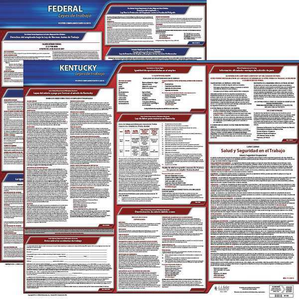 Jj Keller Labor Law Poster, Fed/STA, KY, SP, 20inH, 5yr 200-KY-5
