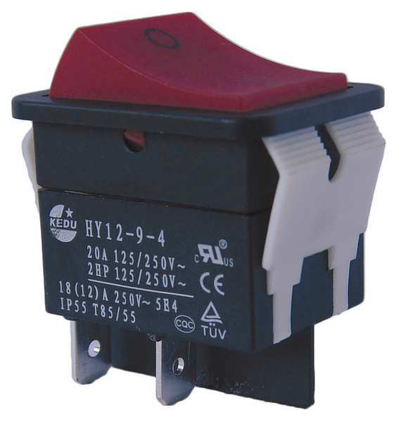 Power First Rocker Switch,  DPST,  4 Connections 29FG26