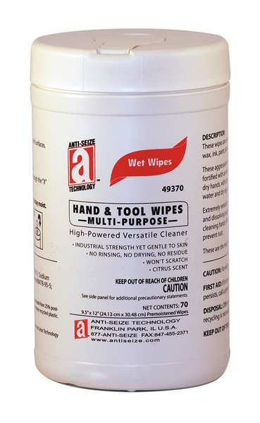 """Anti-Seize Technology Hand Cleaning Wipes,  12""""L x 9-1/2""""W,  70 Wipes 49370"""