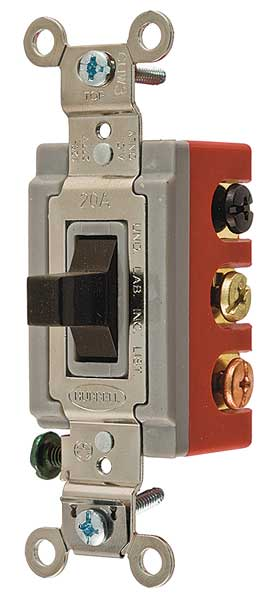 Hubbell Wiring Device-Kellems Wall Swtch,  2-Pole,  120/277V,  20A,  Brn,  Toggl,  Amps AC: 20 A HBL1386