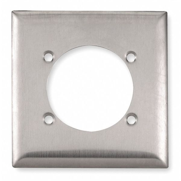 """Hubbell Wiring Device-Kellems 2.48"""" Opening Wall Plates and Box Cover,  Number of Gangs: 2 Stainless Steel,  Brushed Finish,  Silver SS701"""