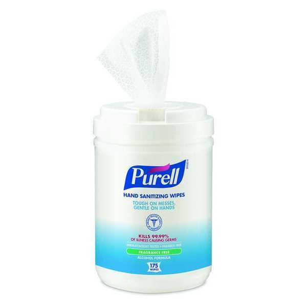 Purell Hand Sanitizing Wipes,  Alcohol Formula,  175 Count Canister 9031-06