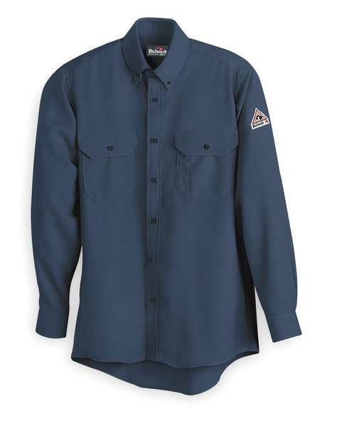 Bulwark FR Long Sleeve Shirt, Navy, XLT, Button SLU2NV LN XL