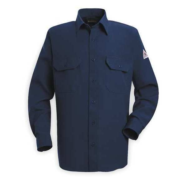 Bulwark Flame Resistant Collared Shirt,  Navy,  Nomex(R),  LT SND2NV LN L