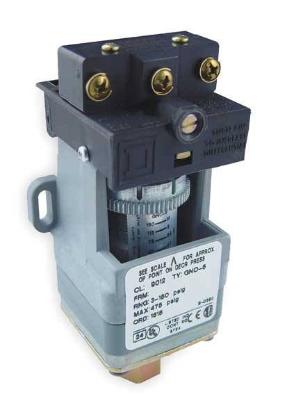 Square D Pressure Switch,  (1) Port,  1/4-18 in FNPT,  SPDT,  1.5 to 75 psi,  Standard Action 9012GRO4