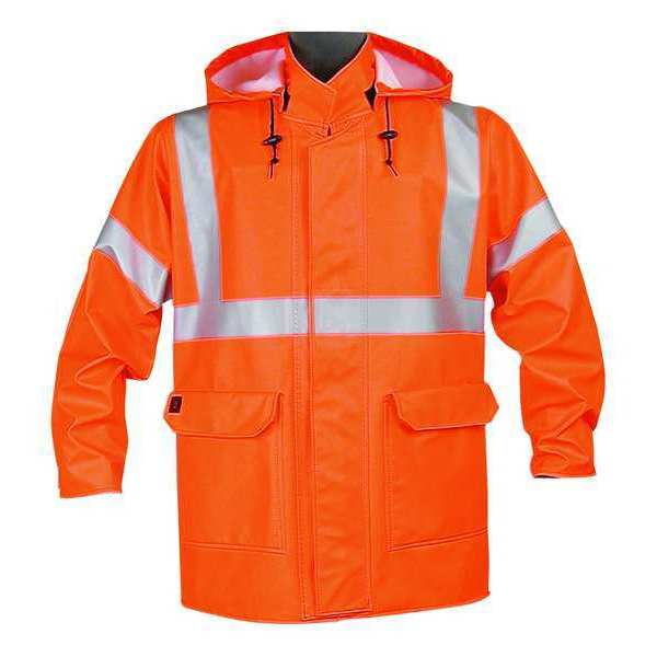 Nasco Arc Flash Rain Jacket with Hood,  Orange,  Flame Resistant,  2XL 4503JFO2