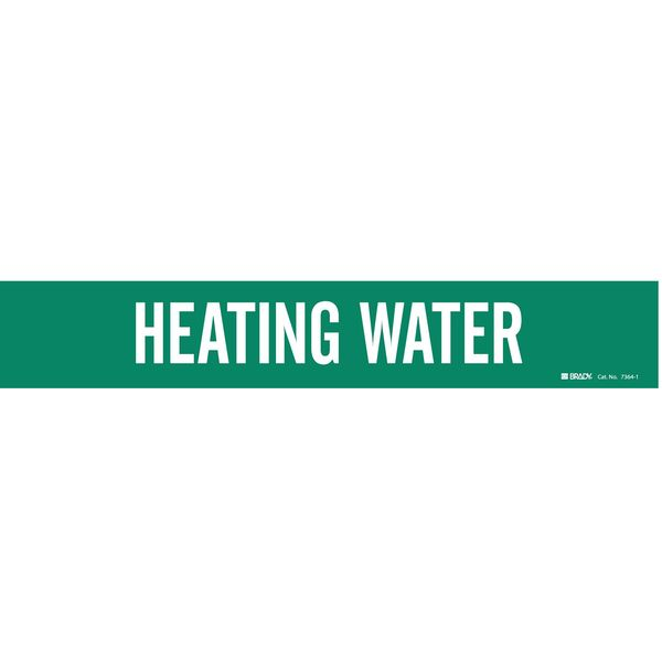 Brady Pipe Mrkr, Heating Water, 2-1/2to7-7/8 In 7364-1