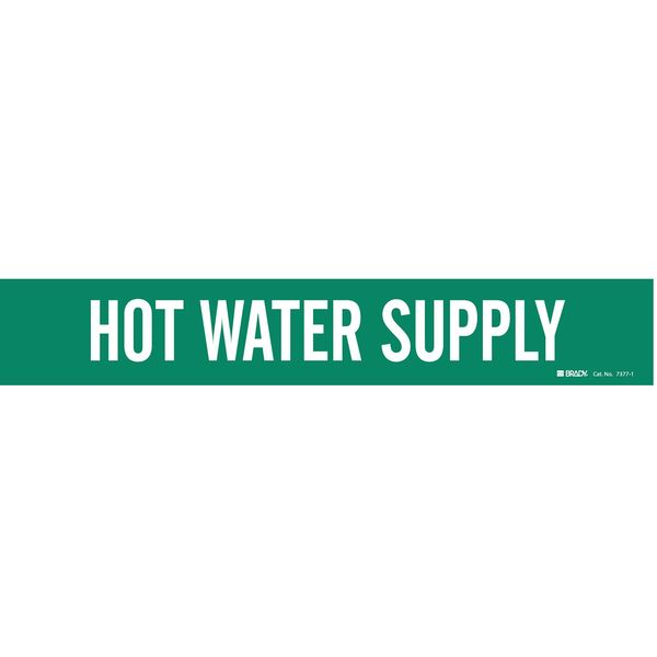 Brady Pipe Mrkr, Hot Water Supply, 2-1/2 to7-7/8 7377-1