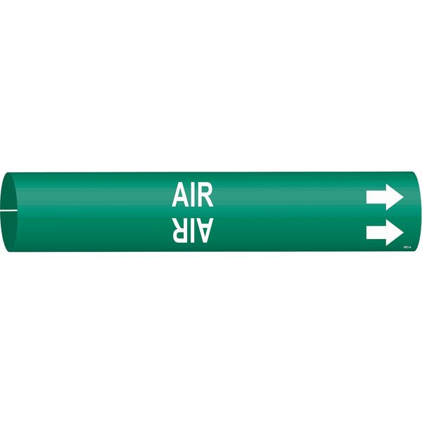 Brady Pipe Marker, Air, Green, 3/4 to 1-3/8 In 4001-A