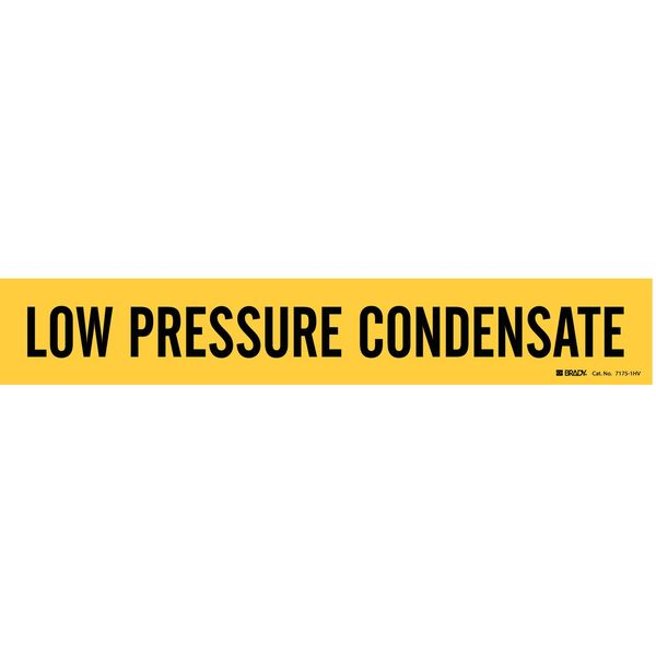 Brady Pipe Mrkr, Low Pressure Condensate, Yellow 7175-1HV