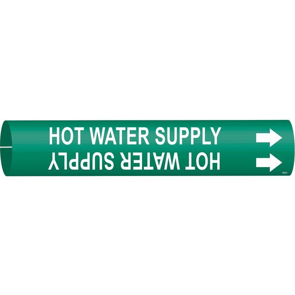 Brady Pipe Mrkr, Hot Water Supply, 2-1/2 to3-7/8 4338-C