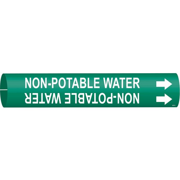 Brady Pipe Marker, Non-Potable Water, Gn, 4to6 In 4351-D