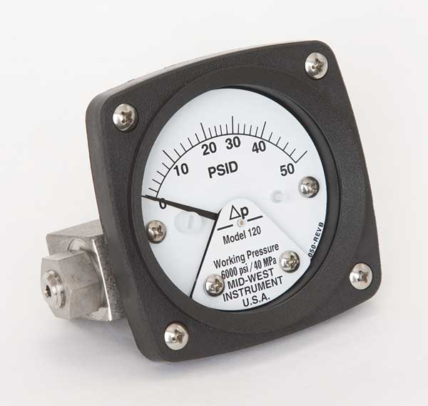 Midwest Instrument Pressure Gauge, 0 to 50 psi 120-SA-00-OO-50P